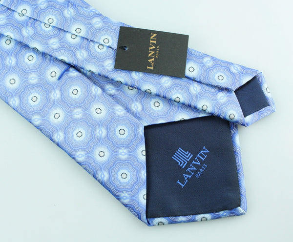 Lanvin Flower Blue Silk Tie