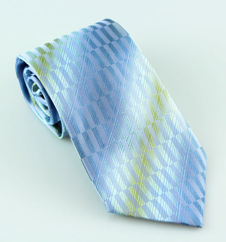 Kenneth Cole Blue & Green Striped Silk Tie