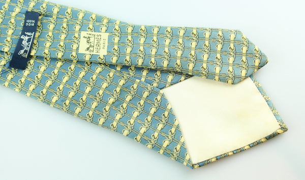 Hermes Silk Gold/Blue Tie