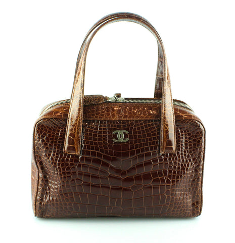 Chanel Brown Croc Leather Top Handle Bowling Bag With Pochette
