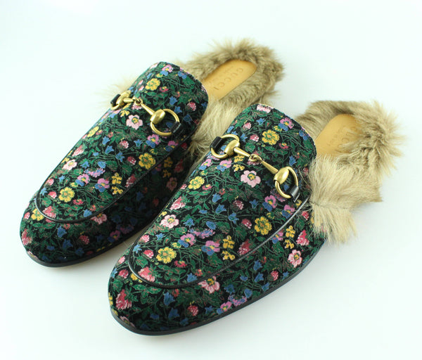 Gucci Princetown Tapestry Shearling Trim Slipper UK 11
