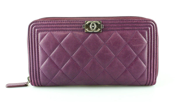 Chanel Violet Lambskin Long Boy Zip Around Wallet 2015/16