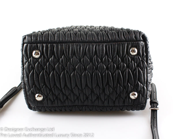 Miu Miu Black Nappa Crystal Cross Body With Top Handles