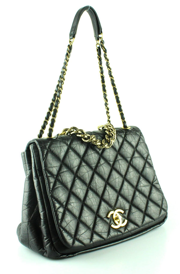 Chanel Black Aged Calfskin Accordion Flap Shoulder Bag 2012