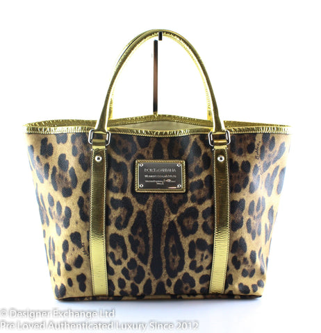 Dolce And Gabanna Leopard Print Tote Gold Trim