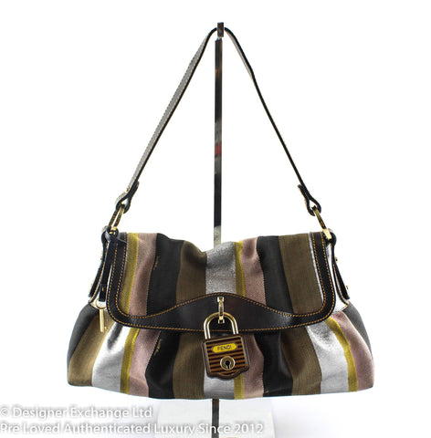 Fendi Limited Edition Multicolour Striped Canvas Chef Flap Bag