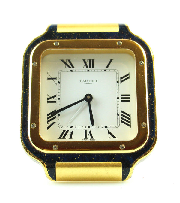 Cartier Santos Travel Clock Brass With Blue Varnish