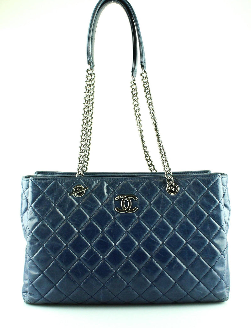 Chanel Glazed Calfskin Navy Zipped Tote 2014/15