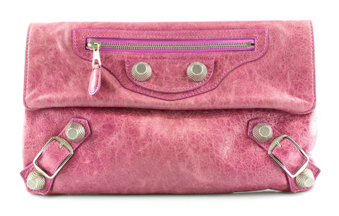 Balenciaga Pink Lambskin Leather Giant 21 Silver Envelope Clutch Bag