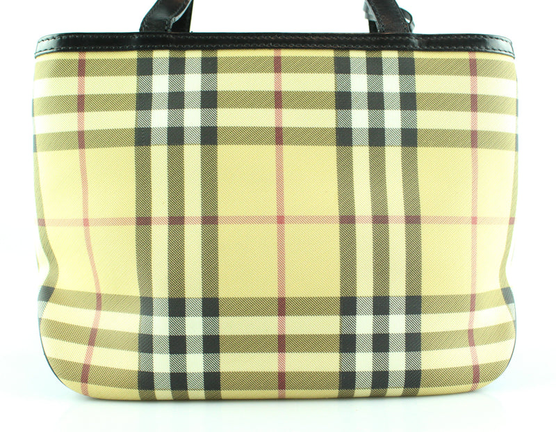Burberry House Check Small Tri Pocket Tote With Black Leather Trim