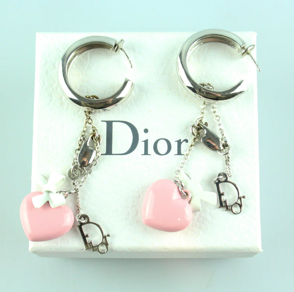 Christian Dior Heart And Bow Dangle Earrings Silvertone