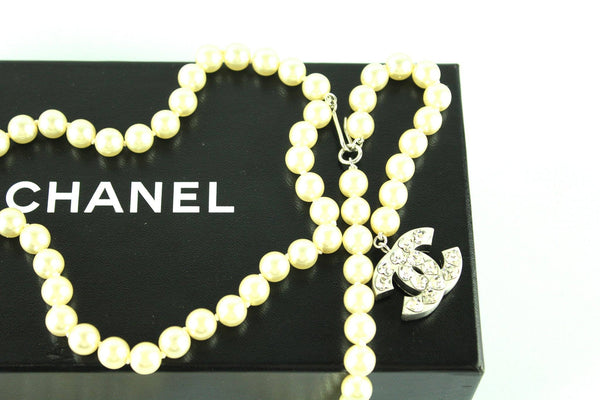 Chanel Bijoux Costume Pearl Belt With Heart Strass 2004