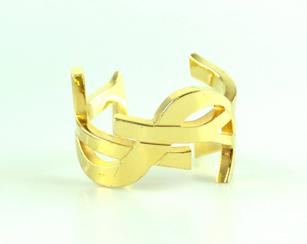 Saint Laurent Gold Tone Logo Cuff