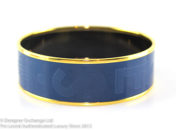 "Hermes Monogram Navy Bangle Gold Plated W (2.5"")"