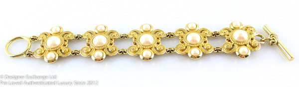 Christian Dior Vintage Goldtone And Costume Pearl Bracelet