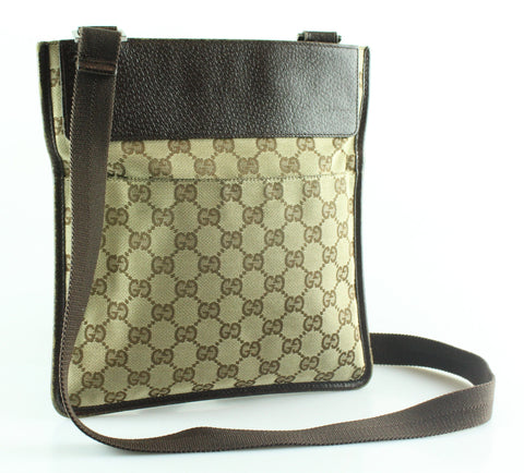 Gucci Monogram Canvas/Leather Cross Body Messenger