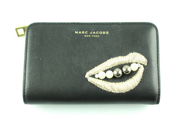 Marc Jacobs Black Leather Compact Embellished Lips And Pearl Wallet