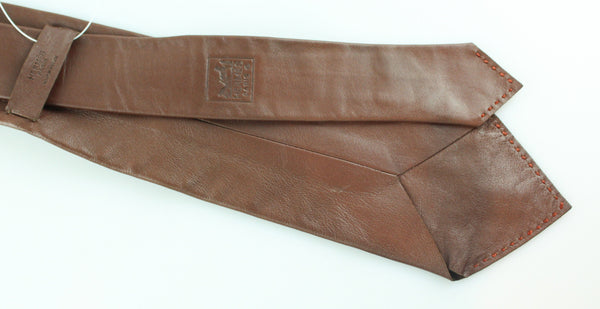 Hermes Brown Leather Tie