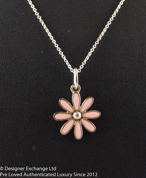 Tiffany Sterling Silver Daisy Pendant On Chain