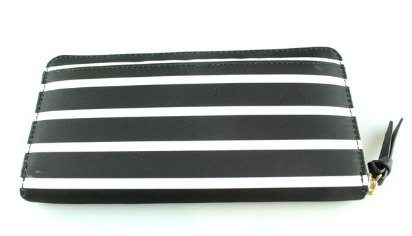 Kate Spade Black Neda Wilson Road French Stripe Nylon Zip Around Wallet