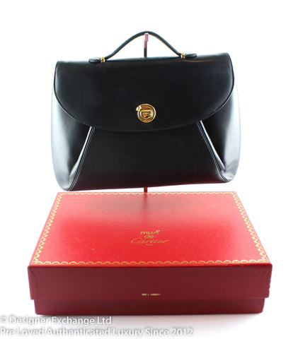 Must De Cartier Black Leather Vintage Ladies Briefcase Matching Small Pochette 1992