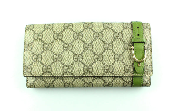 Gucci GG Supreme Button Down Green Leather Trim Long Wallet