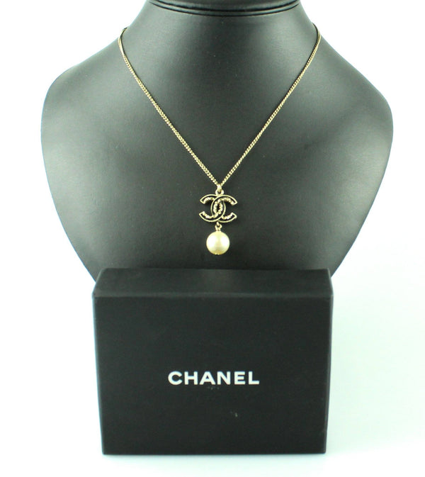 Chanel 2014 Black Enamel CC And Gilt Pearl Necklace B14V