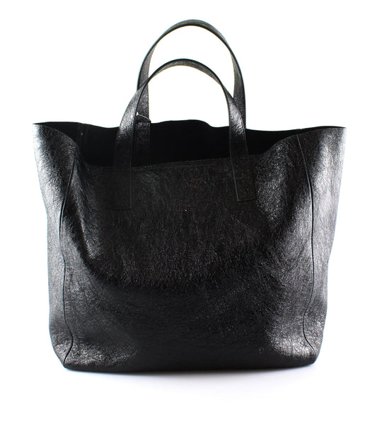Anya Hindmarch Nevis Crinkled Black Leather Tote