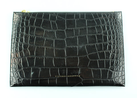 Victoria Croc Embossed Small Simple Pouch