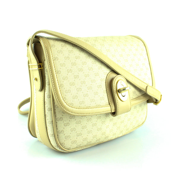 Gucci Beige Vintage GG Turn Lock Cross Body