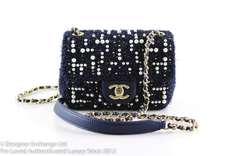 Chanel Mini Cosmos Tweed And Faux Pearl Navy Flap 2018