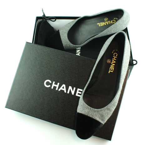 Chanel Grey Felt/ Black Velvet Pumps 39/6