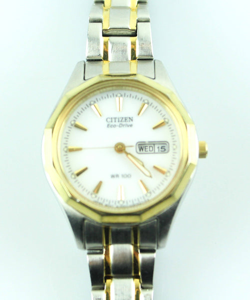Citizen Eco Drive WR100 Solar Powered Gold/Silver Small Dial Watch