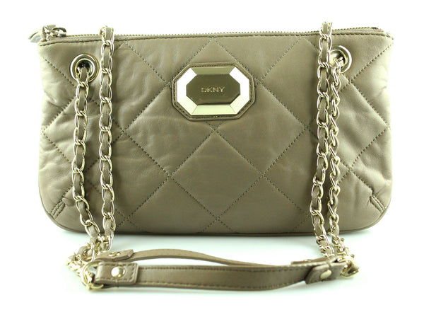 DKNY Taupe Quilted Chain Shoulder Bag