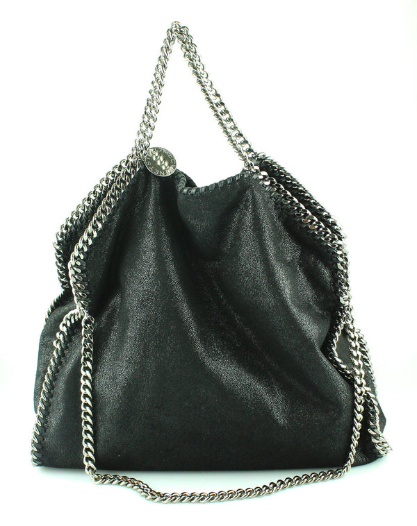 Stella McCartney Black Shaggy Deer Three Chain Falabella SH