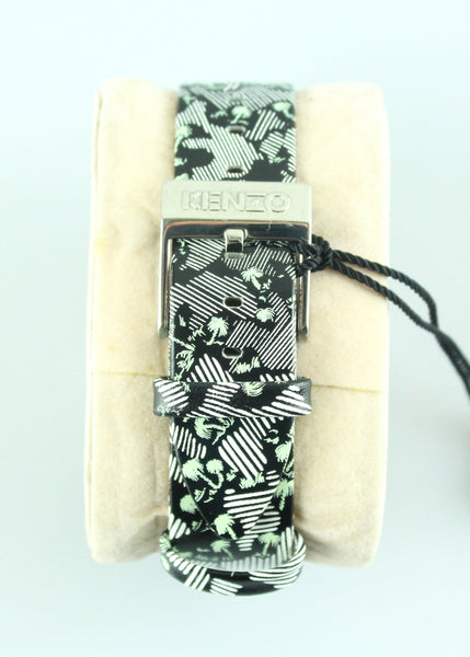 Kenzo Leather Strap Palm Tree B/W Watch
