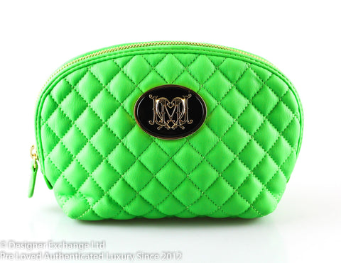 Love Moschino Neon Green Quilted Cosmetic Bag