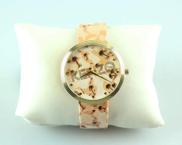 Kenzo Leather Strap Palm Tree O/W Watch