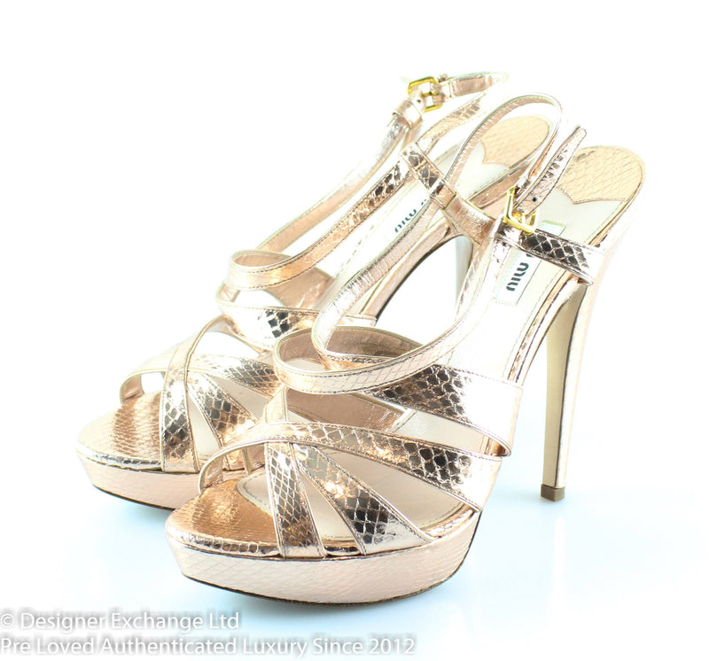 Miu Miu Rose Gold Snakeskin Heels EUR 41 UK 8