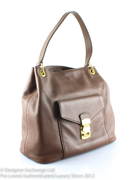 Miu Miu Hazel Brown Pebbled Leather Lock Tote