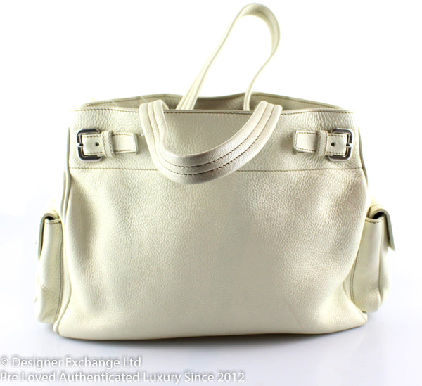 Prada White Slouchy Leather Shoulder Bag