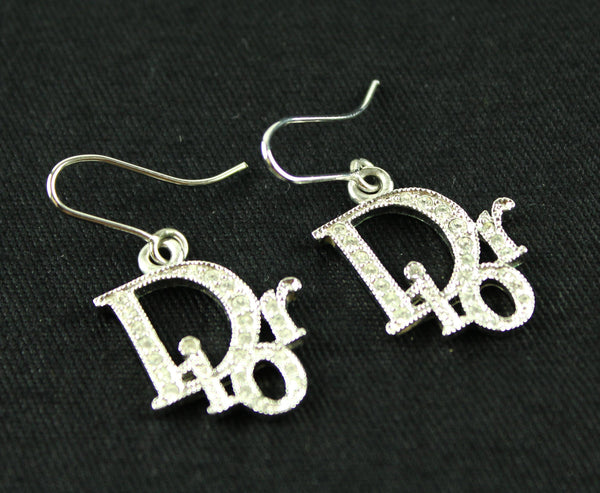 Christian Dior Silvertone Monogram Dangle Earrings