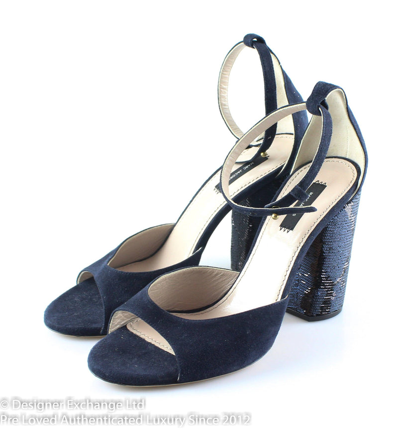 Marc Jacobs Navy Blue Suded Block Heels Sequins EUR 41 UK 8