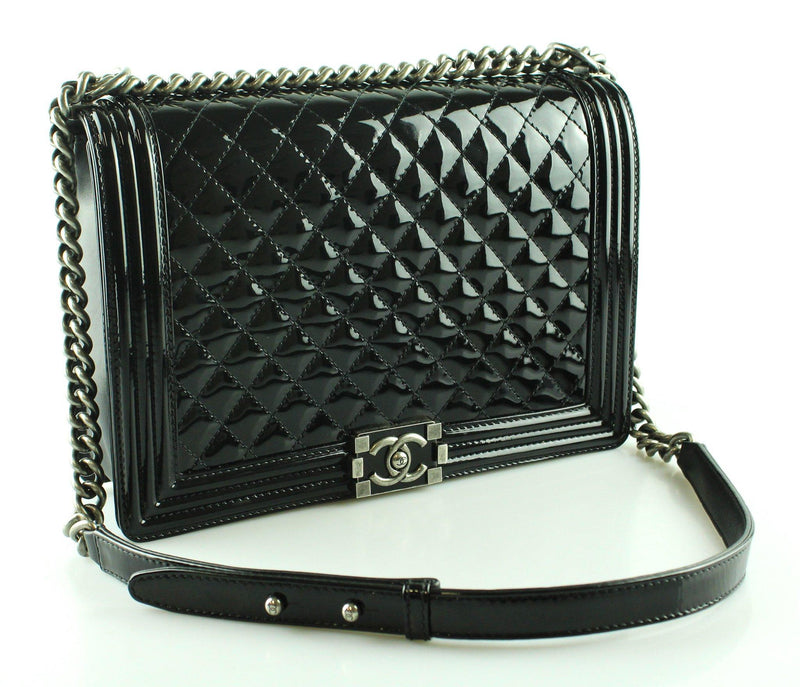 Chanel Black Patent Boy Flap Bag Large 2012/13