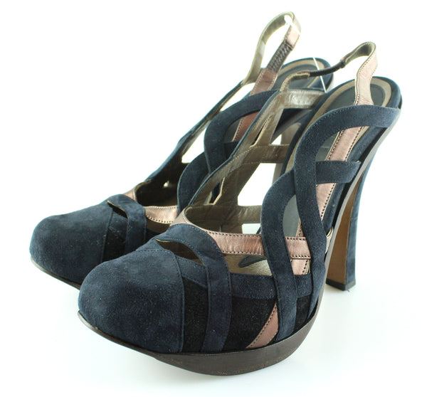 Marni Suede Bow Black/Brown Bow Courts EUR 41 UK 8