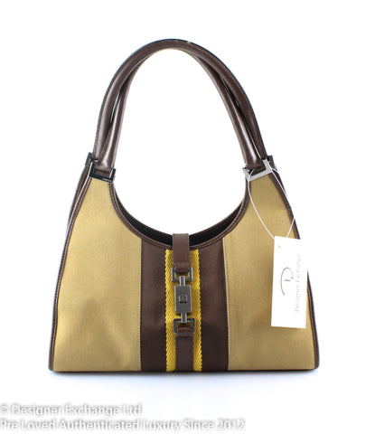 Gucci Tan/Mustard/Brown Cotton Leather Bardot Bag