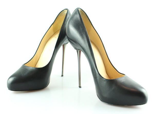 Christian Louboutin Black Leather Melalipp 140MM Heels 38.5/5.5