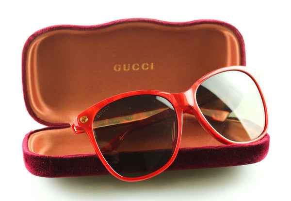 Gucci Large Lens Red Resin Frame Sunglasses