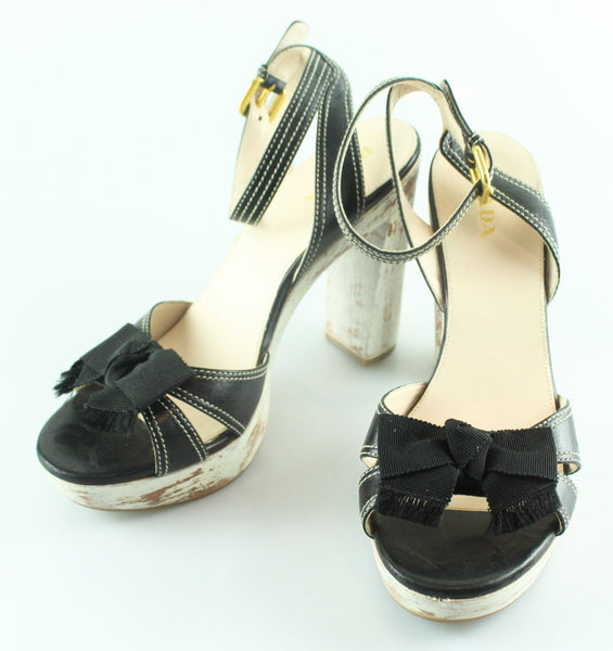 977342559 Prada Platform Sandal Black Bow Ankle Strap EUR 41 UK 8 – Designer Exchange  Ltd