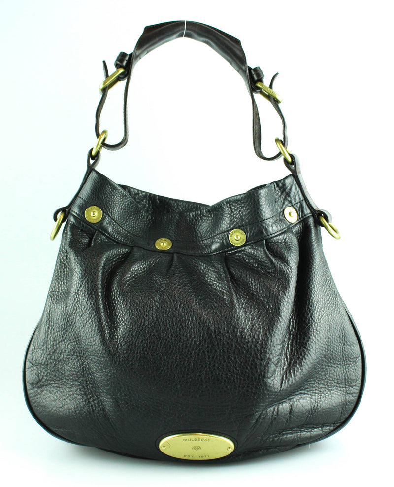 Mulberry Black Grained Leather Mitzy Hobo